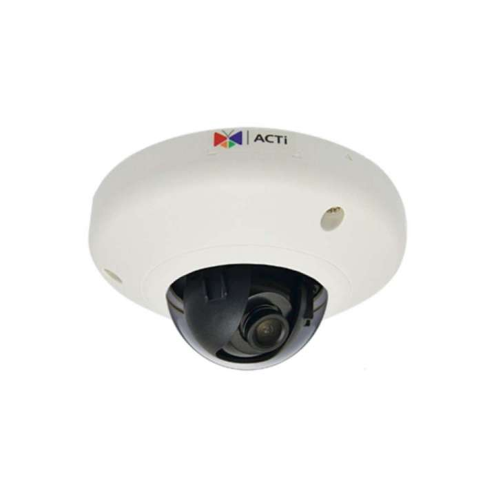 E93 ACTi 5MP Indoor Mini Dome with Basic WDR, Fixed lens, f1.9mm/F2.8, H.264, 1080p/30fps, DNR, MicroSDHC/MicroSDXC, PoE, IK08