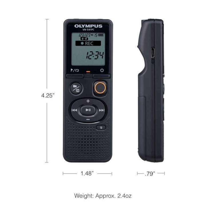 OLY-V405281BU000 OLYMPUS VN-541PC DIGITAL VOICE RECORDER, 4GB, 1500 HOURS, MONO, WMA, MICRO USB CONNECT OR, 2 X AAA BATTERIES INCLUDED
