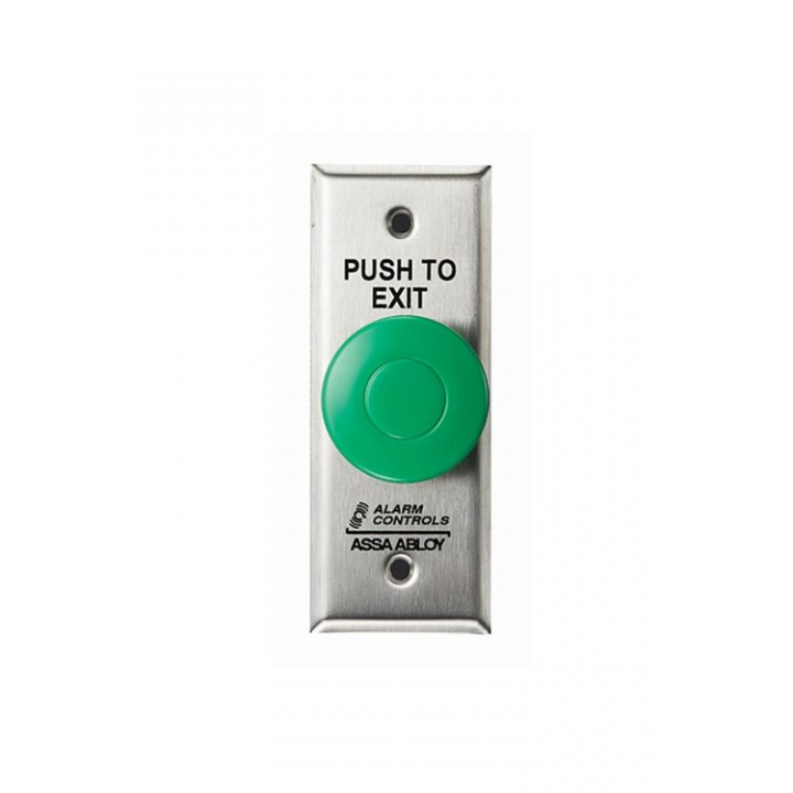 "TS-14 ALARM CONTROLS PNEUMATIC T.D., 1 N/O & 1 N/C CONTACT, 1-1/2"" DIA. GREEN PUSHBUTTON, ""PUSH TO EXIT"", S.G., S.S PL"
