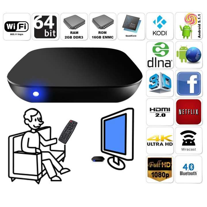 AZSTREAMS905 AZCO TV Streaming Box S905+ Quadcore 64bit, 2gbRAM, 16gbROM, 4K, Bluetooth