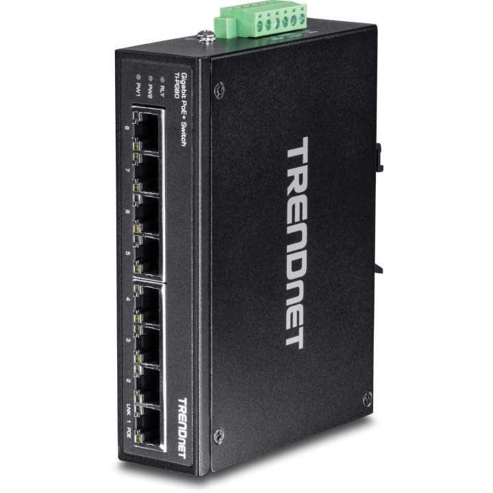TI-PG80 TRENDNET 8-port hardened Industrial Gigabit PoE+ Switch