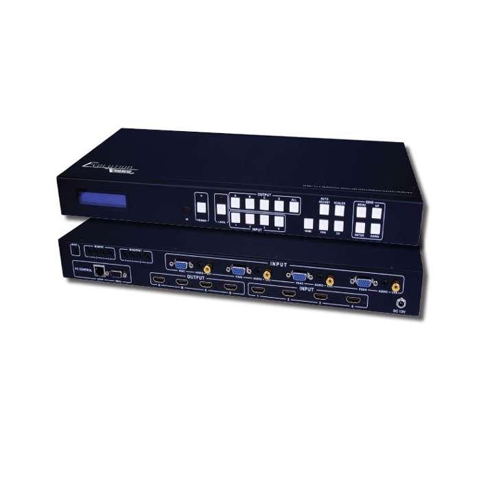 EVMX44SL VANCO HDMI 4x4 Matrix Multiview/Video Wall(2x2) 1080p (Scaler, Inputs HDMI/VGA, RS232)