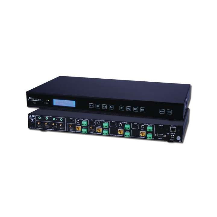 EVMX4K04 VANCO HDBaseT 4x4 Matrix 4K (HDMI 2.0 HDCP 2.2), PoH 70m, IP Control, RS-232, and Audio Breakout ************************* SPECIAL ORDER ITEM NO RETURNS OR SUBJECT TO RESTOCK FEE *************************