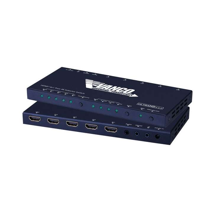 HDMISW41 VANCO HDMI 4x1 Selector Switch 4K (HDCP 2.2, HDMI 2.0) IR Routing ************************* SPECIAL ORDER ITEM NO RETURNS OR SUBJECT TO RESTOCK FEE *************************