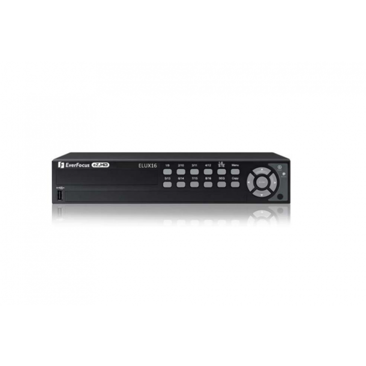 ELUX16/2T EVERFOCUS 16 Channel, 2 TB, compatible with both AHD and TVI cameras, 240 FPS @ 1080P, 480 FPS @ 720P and 960H, No DVD Burner