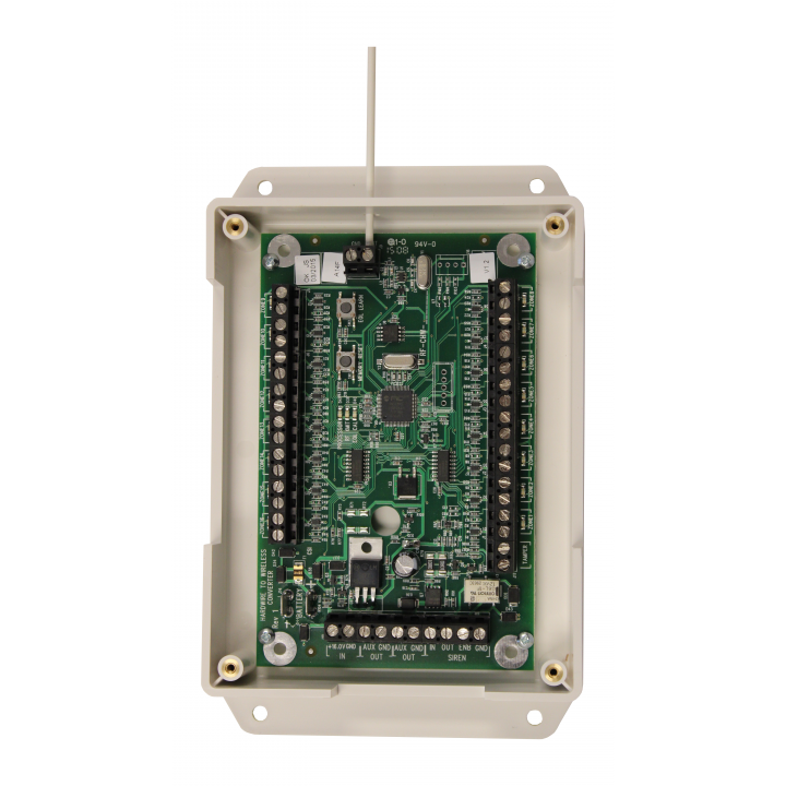 QS7121-840 QOLSYS IQ Hardwire 16 - Translates 16 Hardwire Zones to 16 Qolsys Wireless (319.5 MHz) Learns Existing EOL Resistors, Built-In Power Supply, backup battery charging, and Relay for External Sirens or Speakers. Includes transformer.