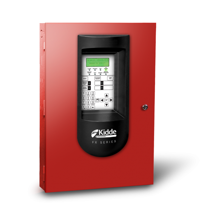 FX-64RD KIDDE FIRE ALARM CONTROL PANEL, FX Analog Addressable, 1LOOP, 64PT, 110V, RED, includes dialer