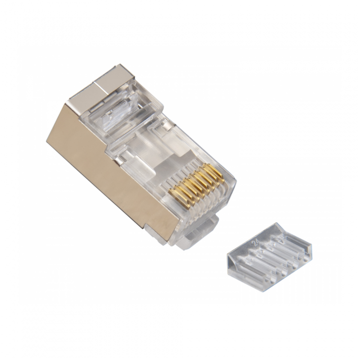 106206J PLATINUM TOOLS RJ45 (8P8C) Shielded Cat6 2 pc. Connector w/ Liner, Round Solid, 3-Prong. 100/Jar.