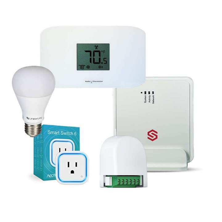 IPDATATEL GATEWAY-V3.0 STARTER BUNDLE Includes: (1) IPDATATEL Gateway-3.0 with Power Supply, Ethernet Cable, and Plastic Box. 100-125 ft Range (1) Radio CT110 Z-Wave Thermostat (1) Aeotec ZW099 Smart Dimmer 6 (1) Aeotec ZW096 Smart Switch 6 (1) Linear LB60Z-1 Z-Wave Light Bulb