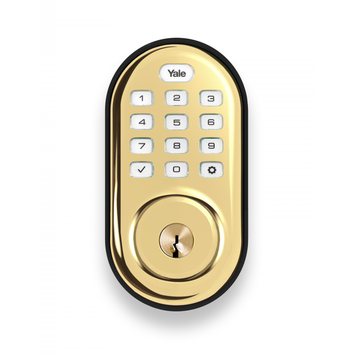 YRD216-ZW2-605 Yale 84529 Push button Z-Wave-Deadbolt Bright Brass-PVD