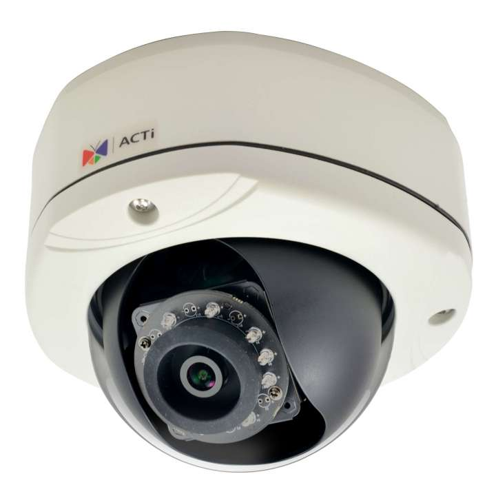 E77 ACTI 10MP Outdoor Dome with D/N, IR, Basic WDR, Fixed lens, f3.6mm/F1.8, H.264, 1080p/30fps, DNR, Audio, MicroSDHC/MicroSDXC, PoE, IP66, IK10, DI/DOi ************************* SPECIAL ORDER ITEM NO RETURNS OR SUBJECT TO RESTOCK FEE *************************