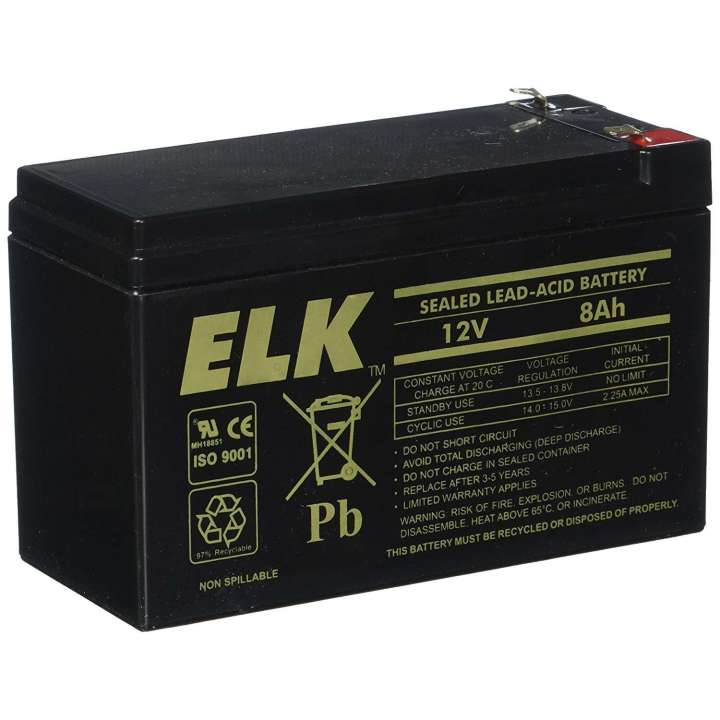 ELK1280 ELK LEAD ACID RECHARGEABLE BATTERY 12V 8AH ************************* SPECIAL ORDER ITEM NO RETURNS OR SUBJECT TO RESTOCK FEE *************************