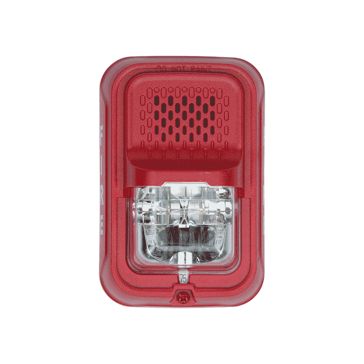 P2GRL SYSTEM SENSOR HORN STROBE 2W RED WALL, COMPACT