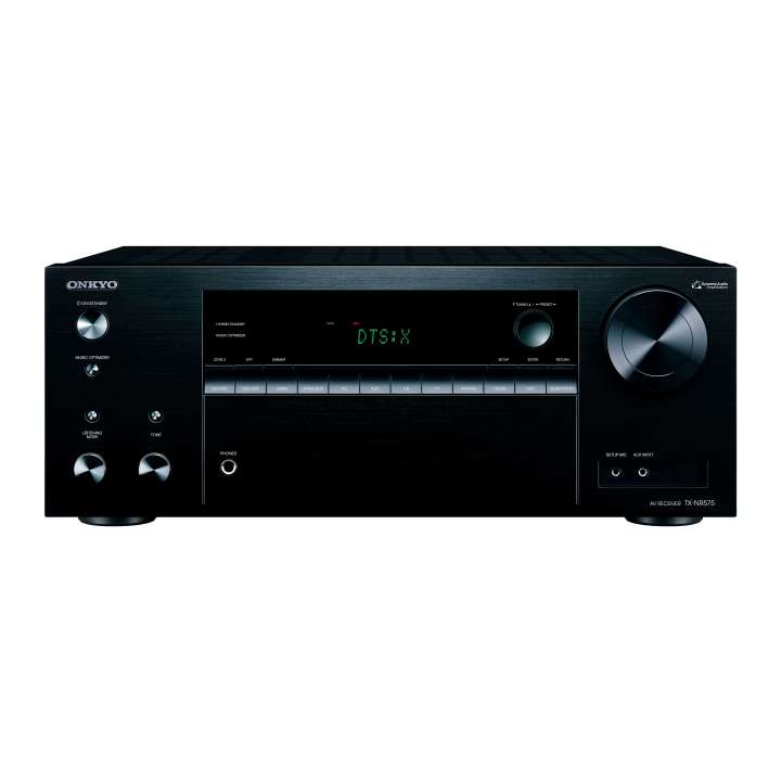 TX-NR575 ONKYO 7.2 CHANNEL NETWORK A/B RECEIVER Supports 5.2.2-Channel Dolby Atmos and DTS:X Playback 170 W per Channel (1 Ch Driven, 6 Ohms, 1kHz, 10% THD) HDMI 6 In / Main Out Supporting 4K/60 Hz, HDR10, Dolby Vision, BT.2020, and HDCP 2.2 Pass-through