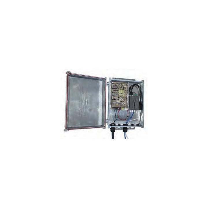 "KBC-SPB-1AT-24 KBC Power kit providing PoE power for (1) 802.3AT IP PTZ camera and (1) 24V PoE antenna. Input: 100-240VAC. Output: (1) 48VDC 802.3AT PoE for IP PTZ camera and (1) 24VDC PoE for antenna. NEMA 4X cast aluminum enclosure with 3-6"" pole/wall mount. ************************* SPECIAL ORDER ITEM NO RETURNS OR SUBJECT TO RESTOCK FEE *************************"