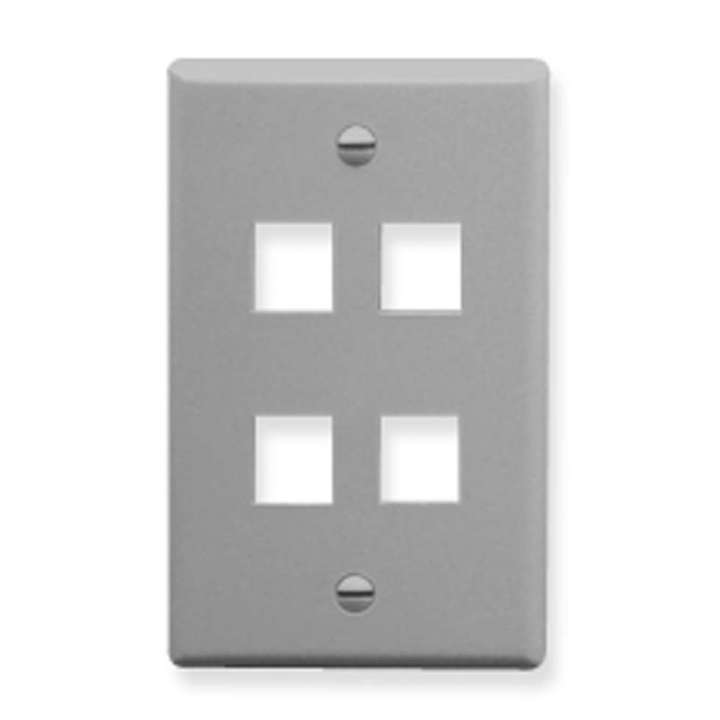 IC107F04GY ICC 4 PORT FACEPLATE GRAY ************************* SPECIAL ORDER ITEM NO RETURNS OR SUBJECT TO RESTOCK FEE *************************