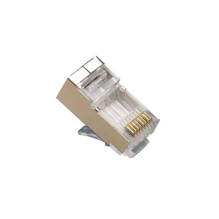 106183C PLATINUM RJ45 (8P8C) Cat5e Shielded Connector, HP, Round-Solid 3-Prong. 10/Clamshell.