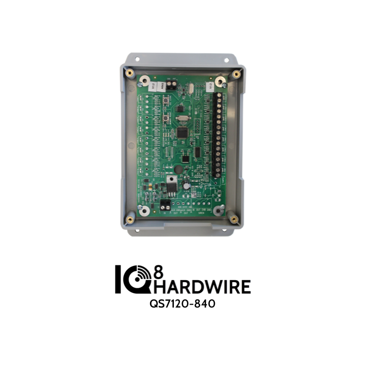 QS7120-840 QOLSYS IQ Hardwire 8 - Translates 8 Hardwire Zones to 8 Qolsys Wireless (319.5 MHz) Learns Existing EOL Resistors, backup battery charging. Includes transformer.