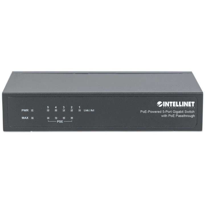 561082 INTELLINET 5-Port Desktop Gigabit Switch with PoE Passthrough, 68W, 4 x PSE PoE ports, 1 x PD PoE port