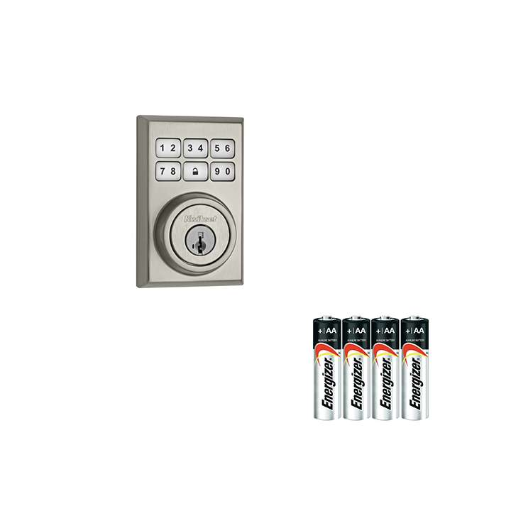 99100-011-AAKIT KWIKSET SATIN NICKEL CONTEMPORARY STYLE DEADBOLT WITH A 4PACK OF AA BATTERIES ************************* SPECIAL ORDER ITEM NO RETURNS OR SUBJECT TO RESTOCK FEE *************************