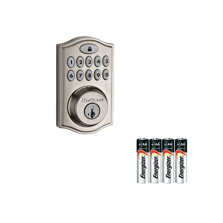 99140-002-AAKIT KWIKSET 914TRL SMARTCODE DEADBOLT WITH HOME CONNECT SATIN NICKEL WITH A 4PACK OF AA BATTERIES