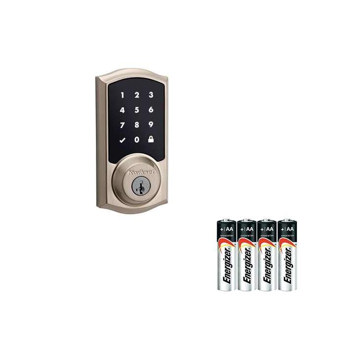 99160-002-AAKIT KWIKSET - 916TRL TSCR ZW L03 UL - Kwikset 916 Touch Screen Deadbolt, Satin Nickel with a 4pcak of AA batteries