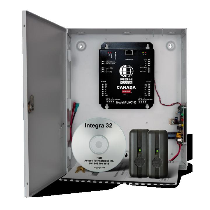 RBH-INT-UNC100-122S-360N RBHUSA Integra UNC100 HYBRID EDGE wall mount, 2 door controller KIT (includes: Integra32 64 door software, wall mount enclosure, power supply, transformer & 2 x FR-360N readers)