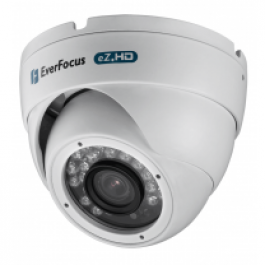 "EBD930FW EVERFOCUS Outdoor IR Ball, 1/2.9"" 2.24 megapixel CMOS, 1080P, 720P and 960H, 3.6mm lens, 24 LEDs of up to 15 meters, True D/N, D-WDR, 12VDC, IP66, White"