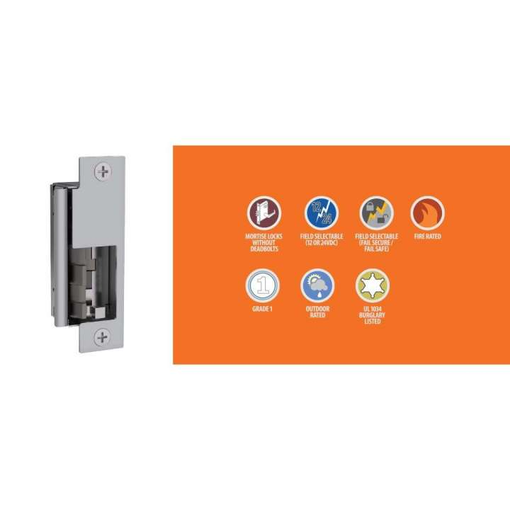 HES8500-LBM-630 HES 8500 SERIES ELECTRIC STRIKE SELECTABLE 12VAC/DC, 24VAC/DC SELECTABLE FAIL SECURE/SAFE BODY ONLY, LATCH BOLT MONITOR SATIN STAINLESS STEEL ************************* SPECIAL ORDER ITEM NO RETURNS OR SUBJECT TO RESTOCK FEE *************************