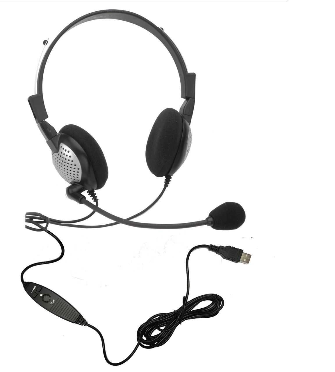 AND-C1-1022600-1 ANDREA NC-185VM USB ON-EAR STEREO COMPUTER HEADSET WITH NOISE-CANCELLING MICROPHONE, IN-LINE VOLUME/MUTE CONTROLS, AND BUILT-IN EXTERNAL SOUND CARD WITH USB PLUG
