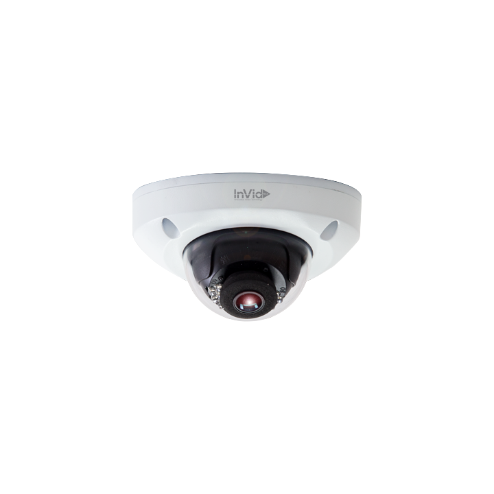 VIS-P4LIR28 INVID 4 Megapixel IP Plug & Play, Outdoor Rugged Low Profile, 2.8mm, 49' IR Range, Built-in Mic, SD Card Slot, PoE/DC12V, White Housing