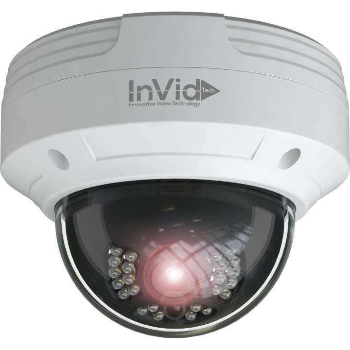 PAR-C4DRIR28 INVID 4 Megapixel TVI/AHD, Outdoor Vandal Dome, 2.8mm 65' IR Range, D-WDR, 12VDC, White Housing