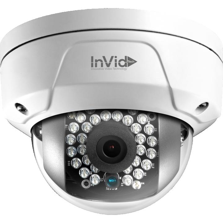 ULT-P4DRIR28 INVID 4 Megapixel IP Plug & Play Mini Rugged Dome, 2.8mm, WDR, 100' IR Range, PoE/DC12V, SD Card Slot IP66