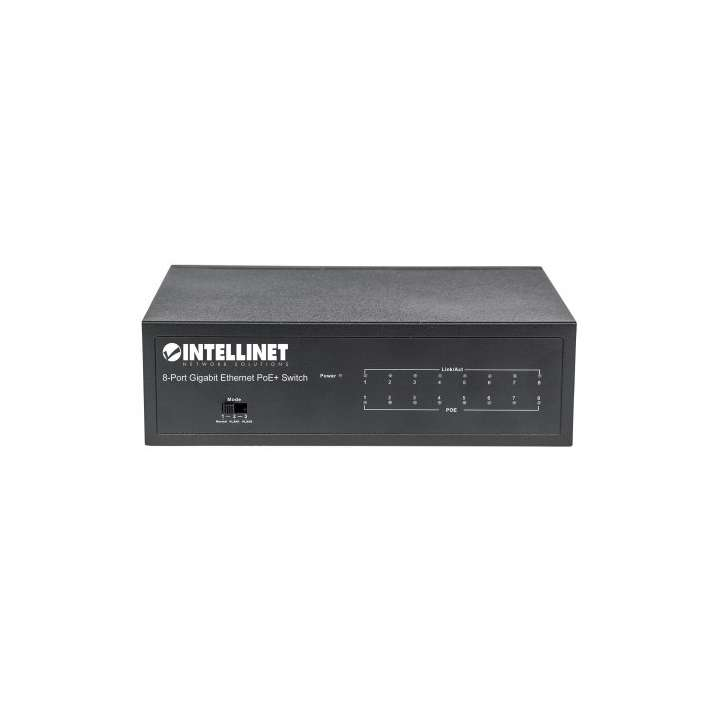 561204 INTELLINET 8-Port Gigabit Ethernet PoE+ Switch, IEEE 802.3at/af Power over Ethernet (PoE+/PoE) Compliant, 60 W, Desktop