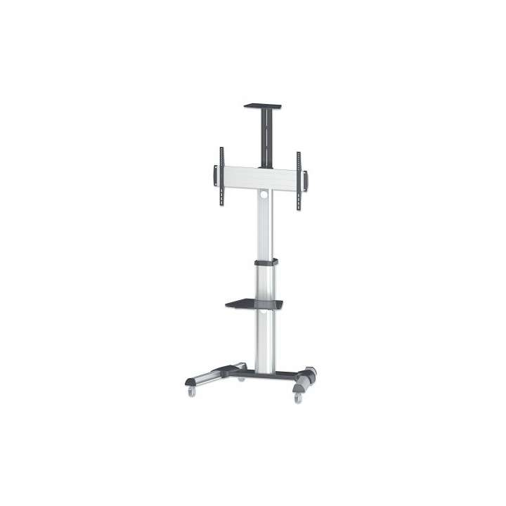 """461245 INTELLINET Universal Multimedia TV Cart, Holds 37"""" to 70"""" TVs; -12 ~ 5 tilt; 90 TV rotation; removable camera and AV shelf SILVER AND BLACK ************************* SPECIAL ORDER ITEM NO RETURNS OR SUBJECT TO RESTOCK FEE *************************"""
