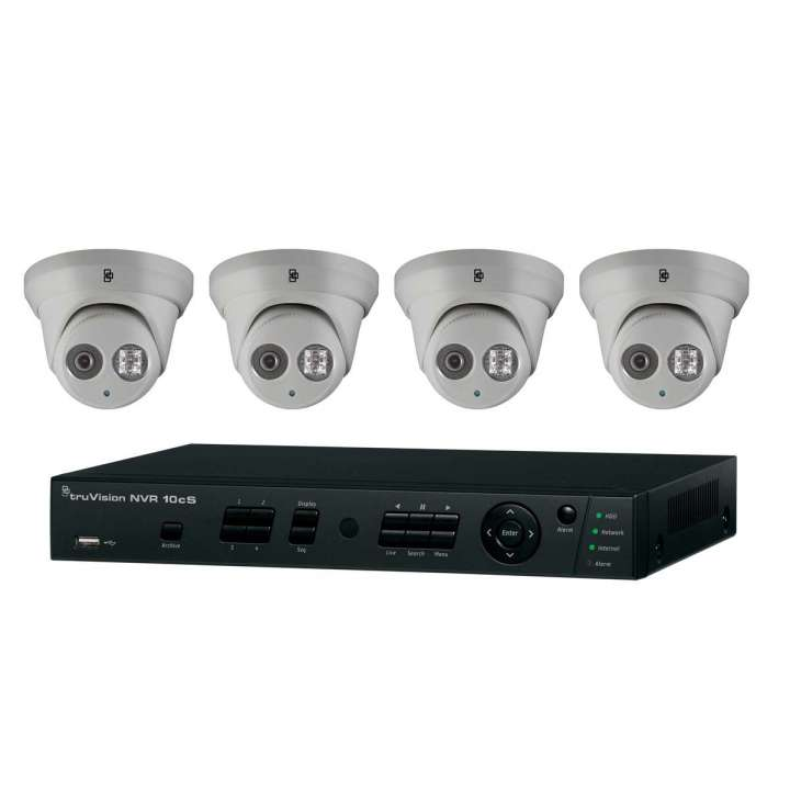 TVN-1004-KT1 INTERLOGIX HD PLUG-AND-PLAY POE SURVEILLANCE BUNDLE. CONTAINS 1- 4-CHANNEL REAL-TIME 4-POE PORT HD NVR WITH 1TB AND 4 INDOOR-OUTDOOR HD 2 MPXL IR TURRET CAMERAS ************************* SPECIAL ORDER ITEM NO RETURNS OR SUBJECT TO RESTOCK FEE *************************