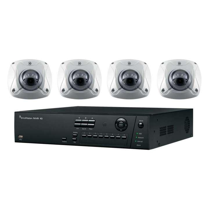 TVN-1004-KW4 INTERLOGIX HD PLUG-AND-PLAY POE SURVEILLANCE BUNDLE. CONTAINS 1- 4-CHANNEL REAL-TIME 4-POE PORT HD NVR WITH 1TB AND 4 INDOOR-OUTDOOR HD 2 MPXL IR WEDGE CAMERAS ************************* SPECIAL ORDER ITEM NO RETURNS OR SUBJECT TO RESTOCK FEE *************************