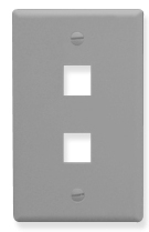 IC107F02GY ICC FACEPLATE, FLAT, 1-GANG, 2-PORT, GRAY