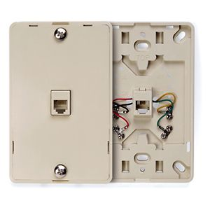 LEV40214-I LEVITON WALL MOUNT PHONE PLATE 6 CONDUCTOR IVORY