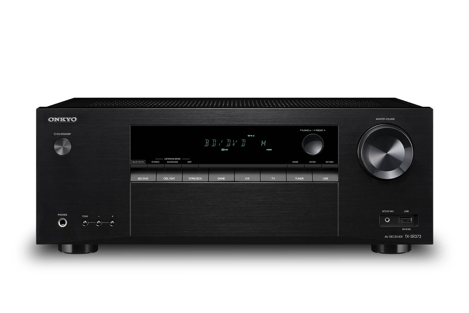 TX-SR373 ONKYO 5.2CH 155W A/V Receiver with Dolby TrueHD and DTS-HD Master Audio Decoding, HDMI 4in/1out (HDR / HDCP 2.2), AccuEQ Room Acoustic Calibration, Bluetooth Connectivity with Qualcomm aptX