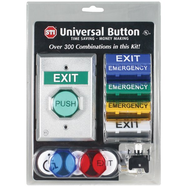 "STI-UB-2 STI UNIVERSAL BUTTON - 1 GANG, 2 FORM C CONTACTS, 2"" BUTTON PLUS INTERCHANGEABLE BUTTONS AND MESSAGES"