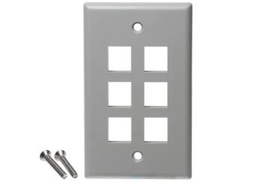 IC107F06GY ICC FACEPLATE, FLAT, 1-GANG, 6-PORT, GRAY