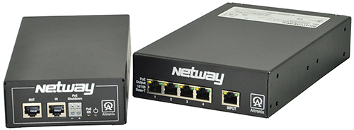 NETWAY4ESK ALTRONIX 4-Port Managed PoE/PoE+ Switch with Midspan Injector Kit - each port provides PoE per IEEE 802.3af or PoE+ per IEEE 802.3at. Total power 84W, PoE shutdown, Built-in IP management facilitates programming and status monitoring via laptop or LAN. UL/cUL Listed (UL60950-1). CE Approved. ************************* SPECIAL ORDER ITEM NO RETURNS OR SUBJECT TO RESTOCK FEE *************************