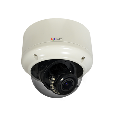 A82 ACTi 5MP Outdoor Zoom Dome with D/N, Adaptive IR, Extreme WDR, SLLS, 2.8x Zoom lens, f3.6-10mm/F1.5-2.8 (HOV:90-40), P-Iris, Auto Focus (for installation), H.265/H.264, 1080p/30fps, 2D+3D DNR, Audio, :MicroSDHC/MicroSDXC, PoE/DC12V, IP66, IK10, DI/DO ************************* CLEARANCE ITEM-NO RETURNS *************************