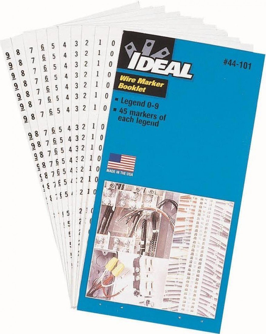 44-101 IDEAL WIRE MARKERS 0-9 LEGEND 45 MARKERS EA.