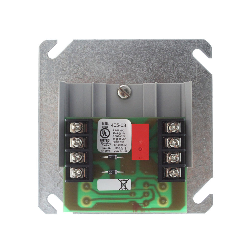 405-03 UTC POLARITY REVERSAL RELAY, 12VDC FOR USE W/2 OR 4-WIRE SMOKE DETECTORS. 1 CIRCUIT. ENABLES ANY CONTROL PANEL TO TRIP ALL ESL SOUNDER SMOKE DETECTORS ON A LOOP WHEN ALARM IS DETECTED. UL LISTED ************************* SPECIAL ORDER ITEM NO RETURNS OR SUBJECT TO RESTOCK FEE *************************