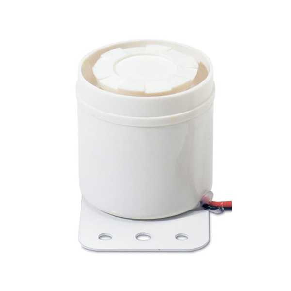 "MPI-47B UTC PIEZO SIREN, SCREAMER W/BRACKET, WALL MOUNT, 2"" DIAMETER., 2"" X 2.75"" BRACKET. 6 - 13.8VDC OUTPUT. CURRENT DRAW 175 MA. UP TO 106DB OUTPUT. WHITE"