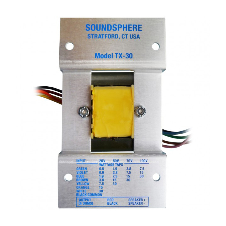 TX30 SOUNDSPHERE TRANSFORMER FOR 110A (70V) ************************* SPECIAL ORDER ITEM NO RETURNS OR SUBJECT TO RESTOCK FEE *************************