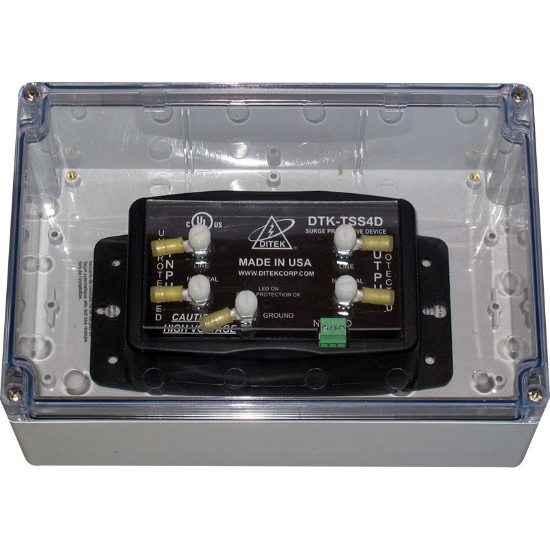 DTK-TSS4D DITEK PROTECTS 120VAC POWER - (1) 120S20A MOUNTED IN A NEMA 4X ENCLOSURE ************************* SPECIAL ORDER ITEM NO RETURNS OR SUBJECT TO RESTOCK FEE *************************