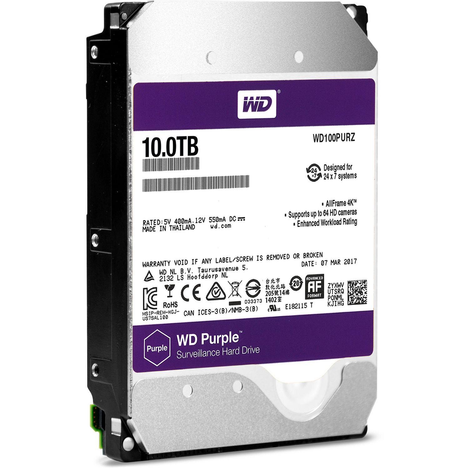 WD101PURZ WESTERN DIGITAL 10TB HARD DRIVE PURPLE USAG